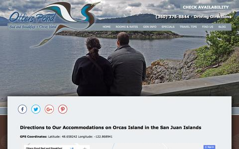 Screenshot of Contact Page Maps & Directions Page otterspond.com - Accommodations on Orcas Island in the San Juan Islands - captured July 1, 2018