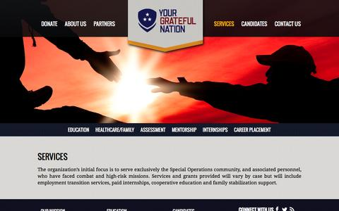 Screenshot of Services Page yourgratefulnation.org - SERVICES - Your Grateful Nation - captured Jan. 13, 2016