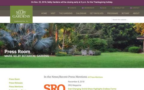 Screenshot of Press Page selby.org - Press Room - Marie Selby Botanical Gardens - captured Nov. 12, 2018