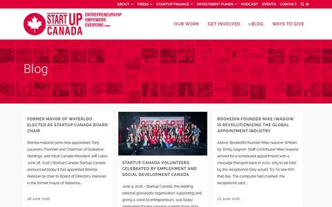 Screenshot of Blog startupcan.ca - Startup Canada   Blog - Startup Canada - captured July 10, 2016
