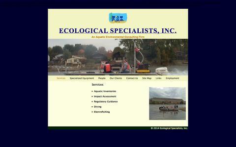 Screenshot of Services Page ecologicalspecialists.com - Services | Ecological Specialists, Inc. - Mussel Surveys - captured Oct. 2, 2014