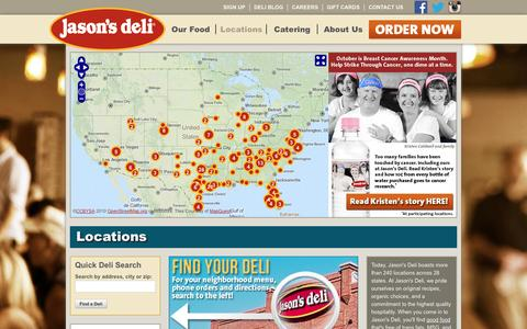 Screenshot of Menu Page Locations Page jasonsdeli.com - Restaurant Locations: Jason's Deli Locations Near You | Online Ordering | Catering | Delivery - captured Oct. 23, 2014