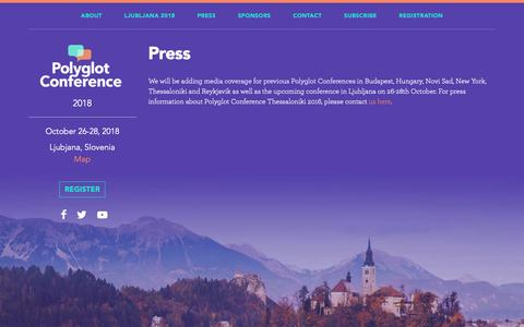 Screenshot of Press Page polyglotconference.com - Press - Polyglot Conference - captured Nov. 8, 2018
