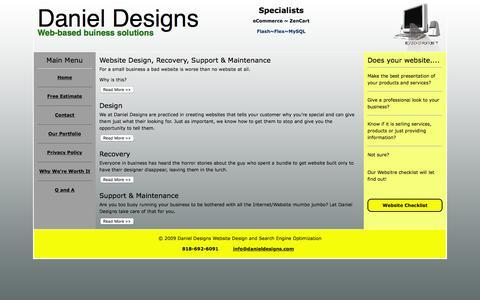 Screenshot of Home Page danieldesigns.com - Daniel Designs Websites for Main Street - captured Jan. 7, 2016