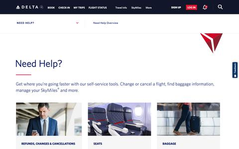 Screenshot of Support Page delta.com - Help Center : Get Help with Reservations, Baggage & More : Delta Air Lines - captured Nov. 16, 2018