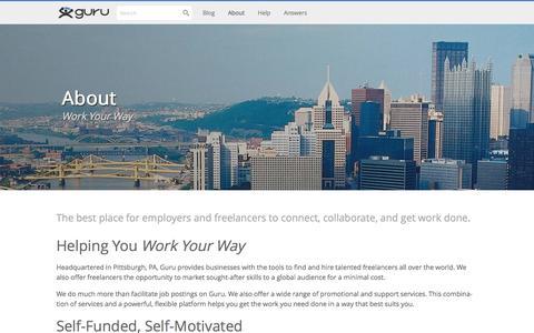 Screenshot of About Page guru.com - About - Guru - captured Dec. 2, 2015