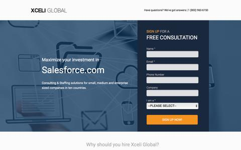 Screenshot of Landing Page xceliglobal.com - Xceli Global - Salesforce.com Consulting & Staffing Solutions - captured June 25, 2016