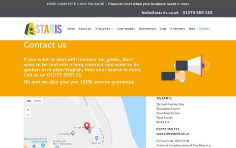 Screenshot of Contact Page astaris.co.uk - Contact - Astaris - IT Support - captured Oct. 4, 2018