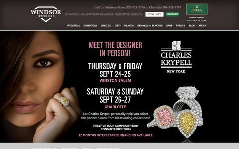 Screenshot of Home Page windsor-jewelers.com - Windsor Jewelers | Fine Jewelry Charlotte & Winston-Salem - captured Sept. 17, 2015