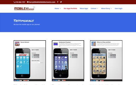 Screenshot of Testimonials Page mobilewebmechanics.com - Mobile Web Site Apps | Custom Web Apps Albany NY | Mobile Web Mechanics | Mobile Web Mechanics - captured Nov. 1, 2018