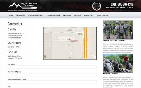 Screenshot of Contact Page frontrangetraining.com - Contact Us | Front Range Training - captured Oct. 6, 2014