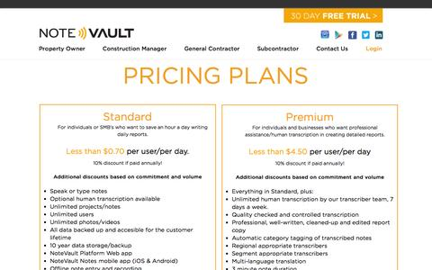 Screenshot of Pricing Page notevault.com - NoteVault - Pricing - captured Aug. 11, 2015
