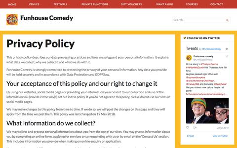 Screenshot of Privacy Page funhousecomedy.co.uk - Privacy Policy - Funhouse Comedy - captured June 5, 2018