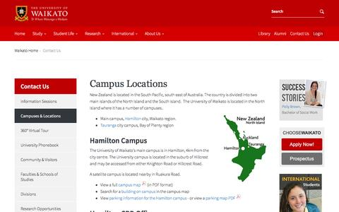 Screenshot of Locations Page waikato.ac.nz - Campuses and Locations: University of Waikato - captured Nov. 28, 2016