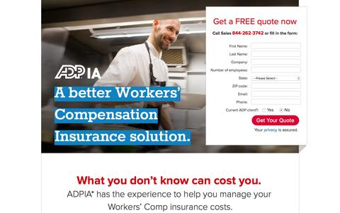 Screenshot of Landing Page adp.com - Workers' Compensation and Business Insurance - captured Feb. 24, 2016