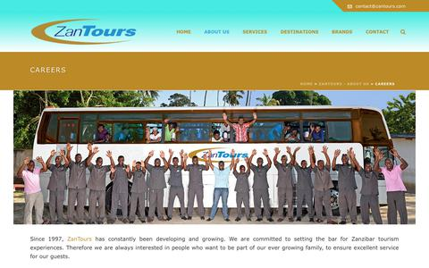 Screenshot of Jobs Page zantours.com - Careers - ZanTours - captured June 11, 2017
