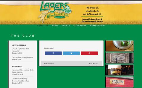 Screenshot of About Page lagersclub.com - The Club - - captured Oct. 22, 2018