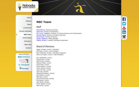 Screenshot of Team Page nebraskasportscouncil.com - NSC Team | Nebraska Sports Council - captured Oct. 26, 2014