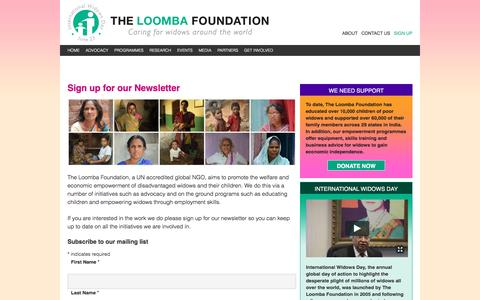 Screenshot of Signup Page theloombafoundation.org - Sign up for our Newsletter - The Loomba Foundation - captured Dec. 17, 2016