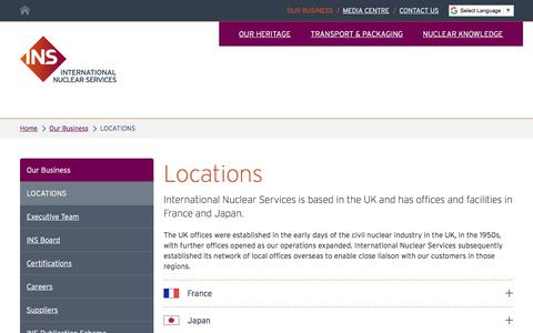 Screenshot of Locations Page innuserv.com - Locations - International Nuclear Services (INS) | Nuclear Transport, packaging and knowledge - captured Oct. 15, 2017
