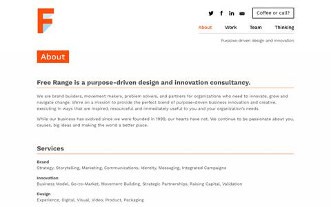 Screenshot of About Page freerange.com - Free Range - Purpose-driven design and innovation - captured June 28, 2017