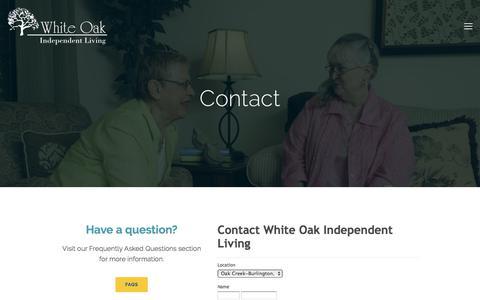 Screenshot of Contact Page whiteoakindependentliving.com - Contact — White Oak Independent Living - captured Feb. 3, 2018