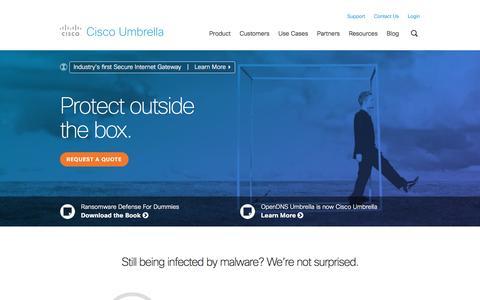 Screenshot of Products Page cisco.com - Cisco Umbrella - Cloud Delivered Enterprise Security - captured May 9, 2017