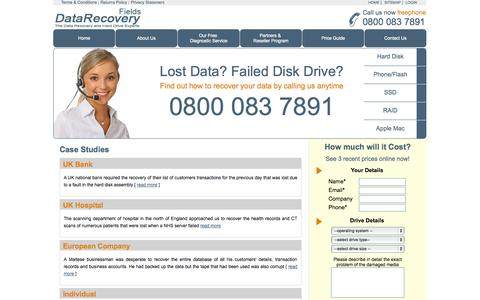 Screenshot of Case Studies Page fields-data-recovery.co.uk - Fields Data Recovery - captured Oct. 27, 2014