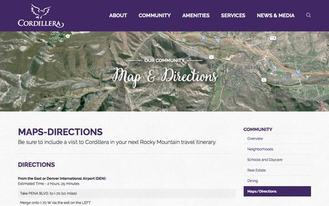 Screenshot of Maps & Directions Page cordilleraliving.com - Cordillera Living - Map & Directions - captured Nov. 12, 2016