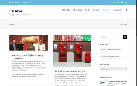 Screenshot of Press Page epda.com - News Archives - European Plastics Distributors Association (EPDA) - captured Sept. 29, 2018