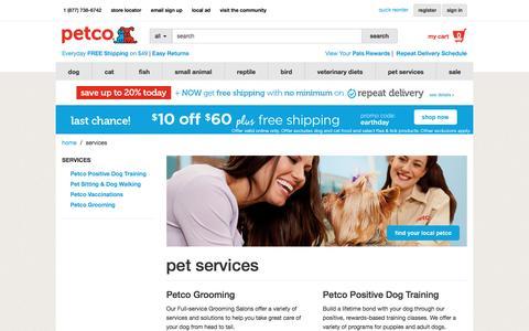 Screenshot of Services Page petco.com - Pet Services - Various Pet Services Offered by Petco - captured April 23, 2017