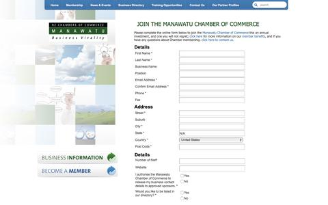 Screenshot of Signup Page reservesecure.com - Join the Manawatu Chamber of Commerce | Manawatu Chamber of Commerce | Manawatu Business Advocates - captured Feb. 4, 2016
