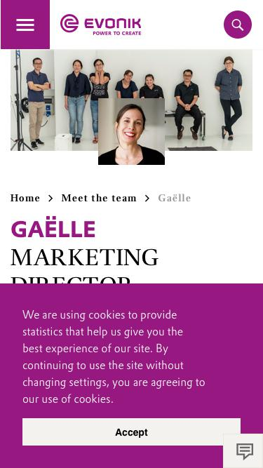 Screenshot of Team Page  evonik.com - Gaëlle                                                                - Evonik Careers