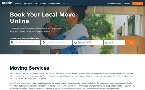 Screenshot of Services Page unpakt.com - Best Moving Services - Book Full Service Movers Online | Unpakt - captured July 6, 2019