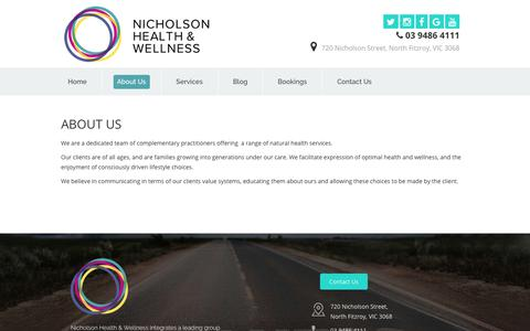 Screenshot of About Page nicholsonhealthandwellness.com.au - About Nicholson Health & Wellness Fitzroy North - captured July 7, 2018
