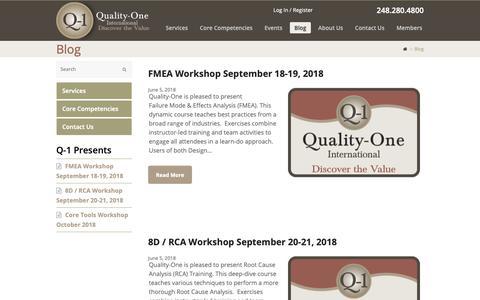 Screenshot of Blog quality-one.com - Blog | Quality and Reliability Information Posts | Quality-One - captured Sept. 28, 2018