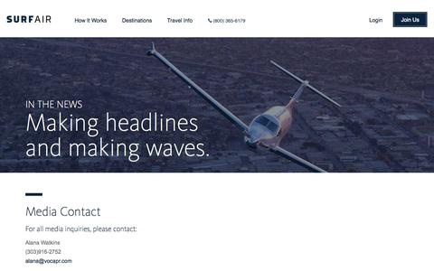 Screenshot of Press Page surfair.com - Surf Air | Official Site | Press | - captured Oct. 21, 2015