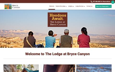 Screenshot of Home Page brycecanyonforever.com - Bryce Canyon Lodging and Vacations - The Lodge at Bryce Canyon - captured May 29, 2016