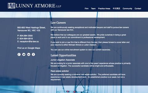 Screenshot of Jobs Page lunnyatmore.com - Law Careers Vancouver - Lawyers and Support Staff | Lunny Atmore LLPLunny Atmore LLP - captured Oct. 3, 2014