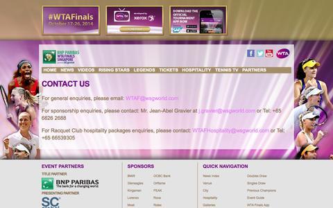 Screenshot of Contact Page wtafinals.com - Contact Us | WTA Finals - captured Oct. 30, 2014