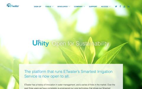 Screenshot of Developers Page etwater.com - ETwater | Unity API: The open API for the environment and sustainability - captured May 9, 2017