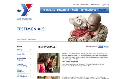 Screenshot of Testimonials Page asymca.org - Testimonials | HomeThe Armed Services YMCA - captured Oct. 4, 2014