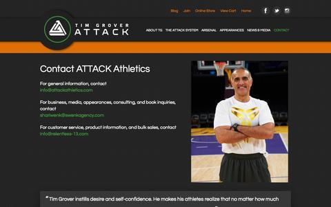 Screenshot of Contact Page attackathletics.com - Attack Athletics  » Contact - captured Sept. 30, 2014