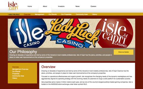 Screenshot of About Page islecorp.com - Management overview, Isle of Capri Casinos, Inc. - captured Oct. 6, 2014