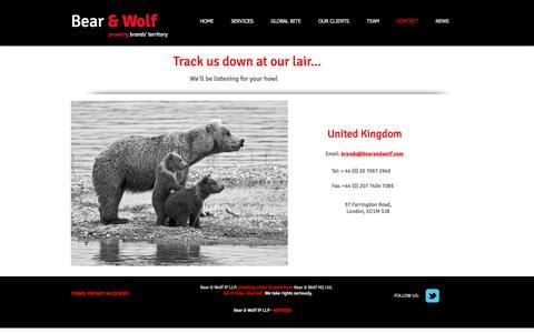 Screenshot of Contact Page bearandwolf.com - Contact - captured Nov. 22, 2016