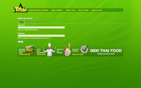Screenshot of Login Page thaifood.co.nz - User account | - captured Oct. 7, 2014