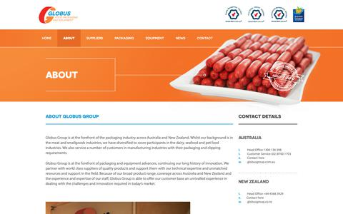 Screenshot of About Page globusgroup.com.au - About | Globus Group - Food Packaging and Equipment - captured Dec. 15, 2018