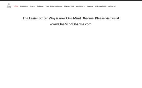 Screenshot of Home Page theeasiersofterway.com - The Easier Softer Way Meditation and Malas - captured Jan. 11, 2016