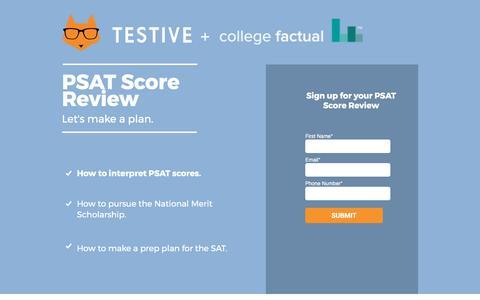 Screenshot of Landing Page testive.com - PSAT Score Review - captured April 13, 2017