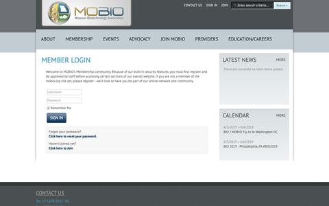 Screenshot of Login Page mobio.org - Missouri Biotechnology Association - captured Dec. 20, 2018